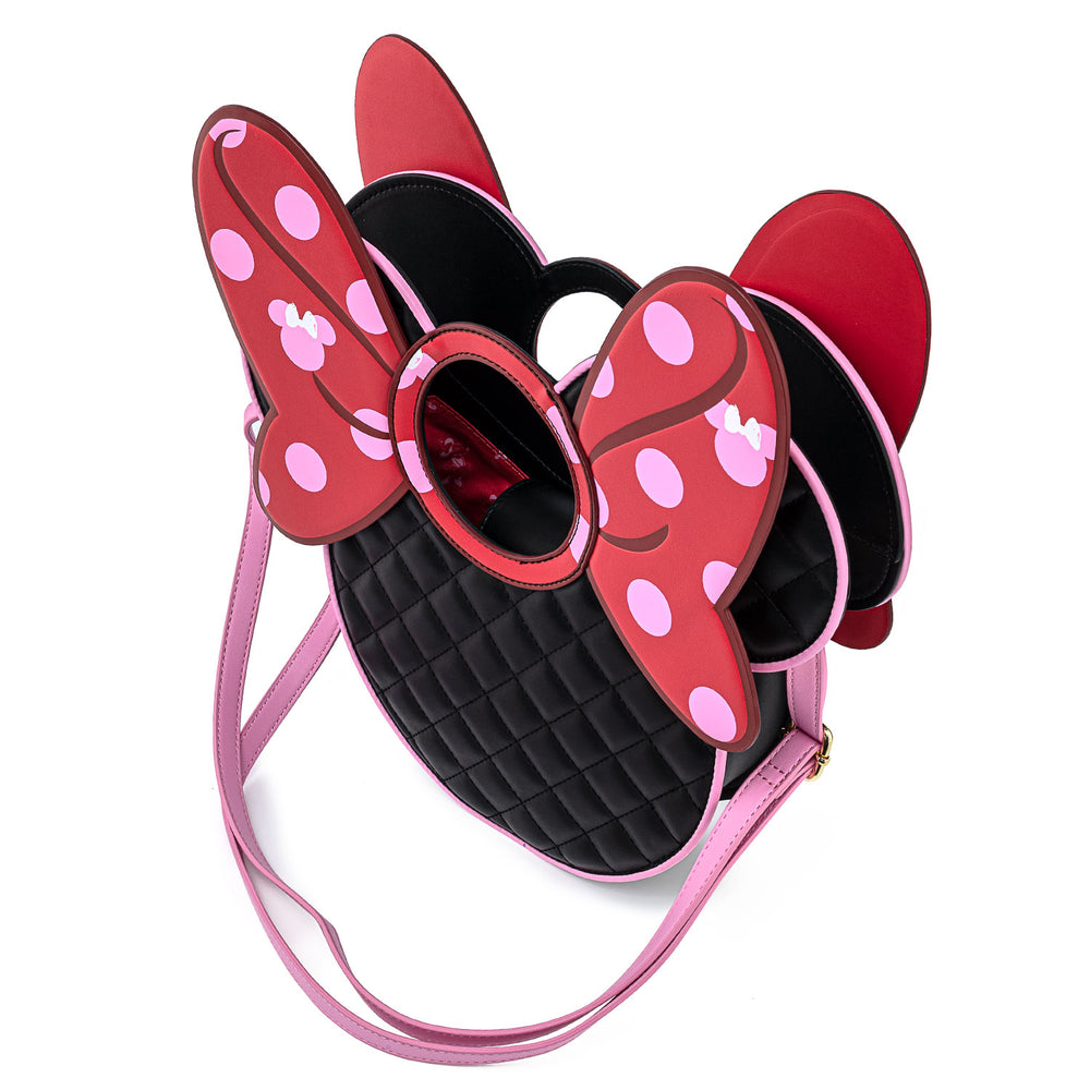 Disney Minnie Mouse Quilted Pink Polka Dot Bow Head Crossbody Bag-zoom