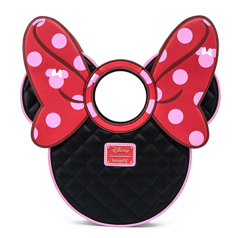 Disney Minnie Mouse Quilted Pink Polka Dot Bow Head Crossbody Bag