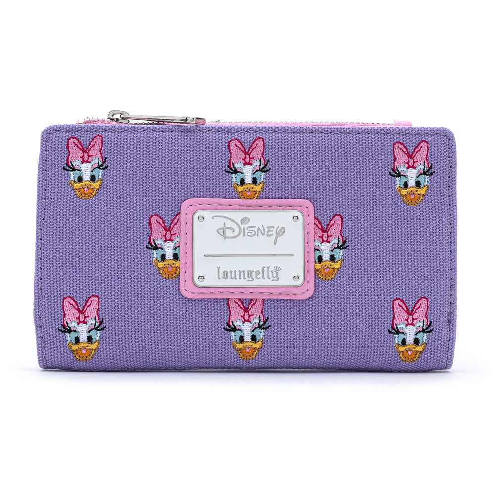 Loungefly X Disney Daisy Duck Embroidered AOP Canvas Flap Wallet-zoom