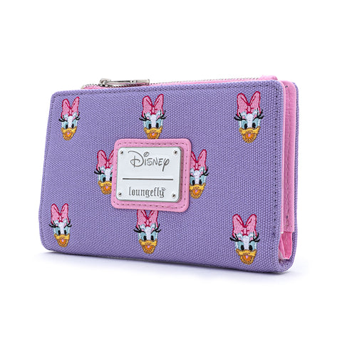 Loungefly X Disney Daisy Duck Embroidered AOP Canvas Flap Wallet