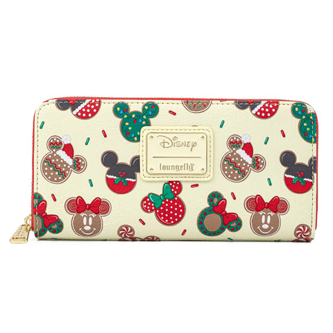 Disney Mickey & Minnie Mouse Holiday Cookies Zip Around Wallet