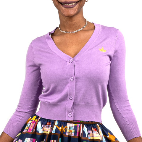 "Disney Stitch Shoppe Princess Books ""Alexa"" Cropped Cardigan Sweater"