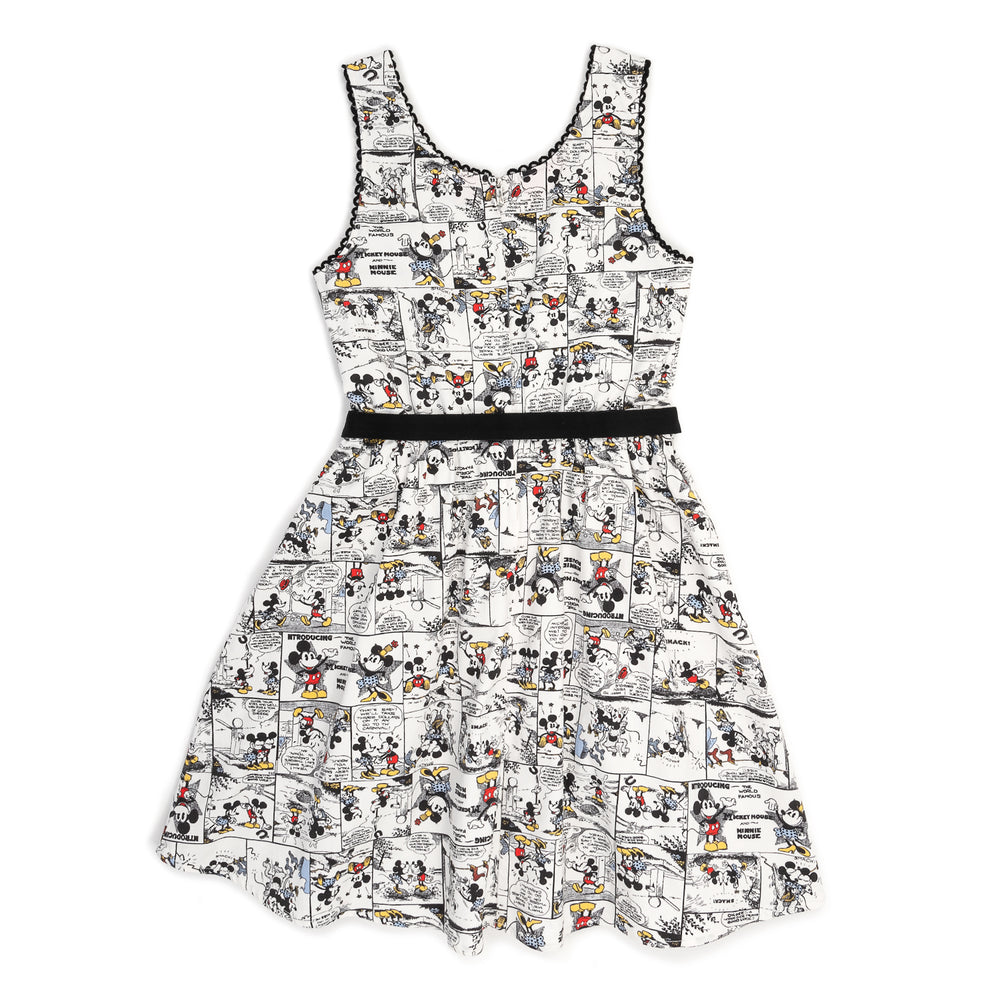 "Disney Stitch Shoppe Mickey Minnie White Comic Strip ""Olivia"" Tank Dress-zoom"