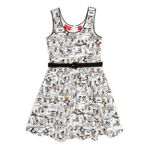 "Disney Stitch Shoppe Mickey Minnie White Comic Strip ""Olivia"" Tank Dress"