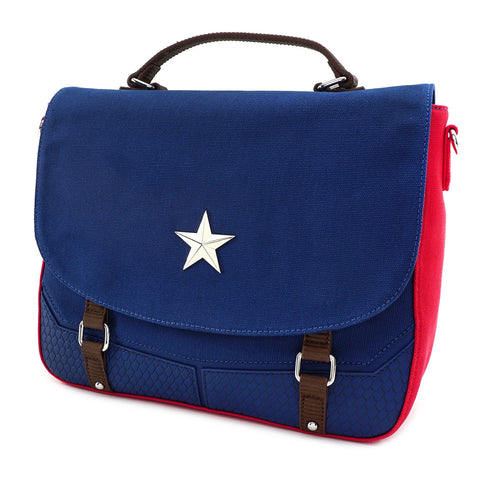 LOUNGEFLY X MARVEL CAPTAIN AMERICA ENDGAME HERO CANVAS MESSENGER BAG