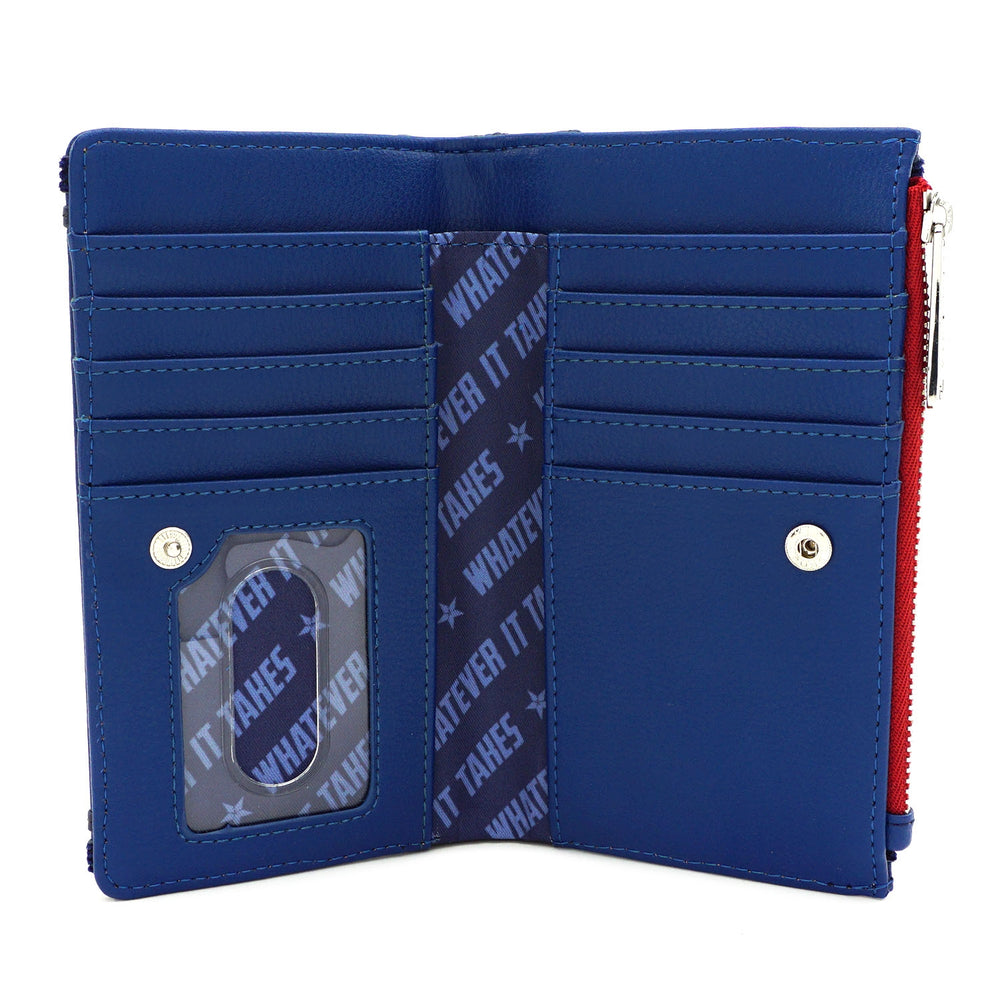 LOUNGEFLY X MARVEL CAPTAIN AMERICA A LOGO FLAP WALLET-zoom