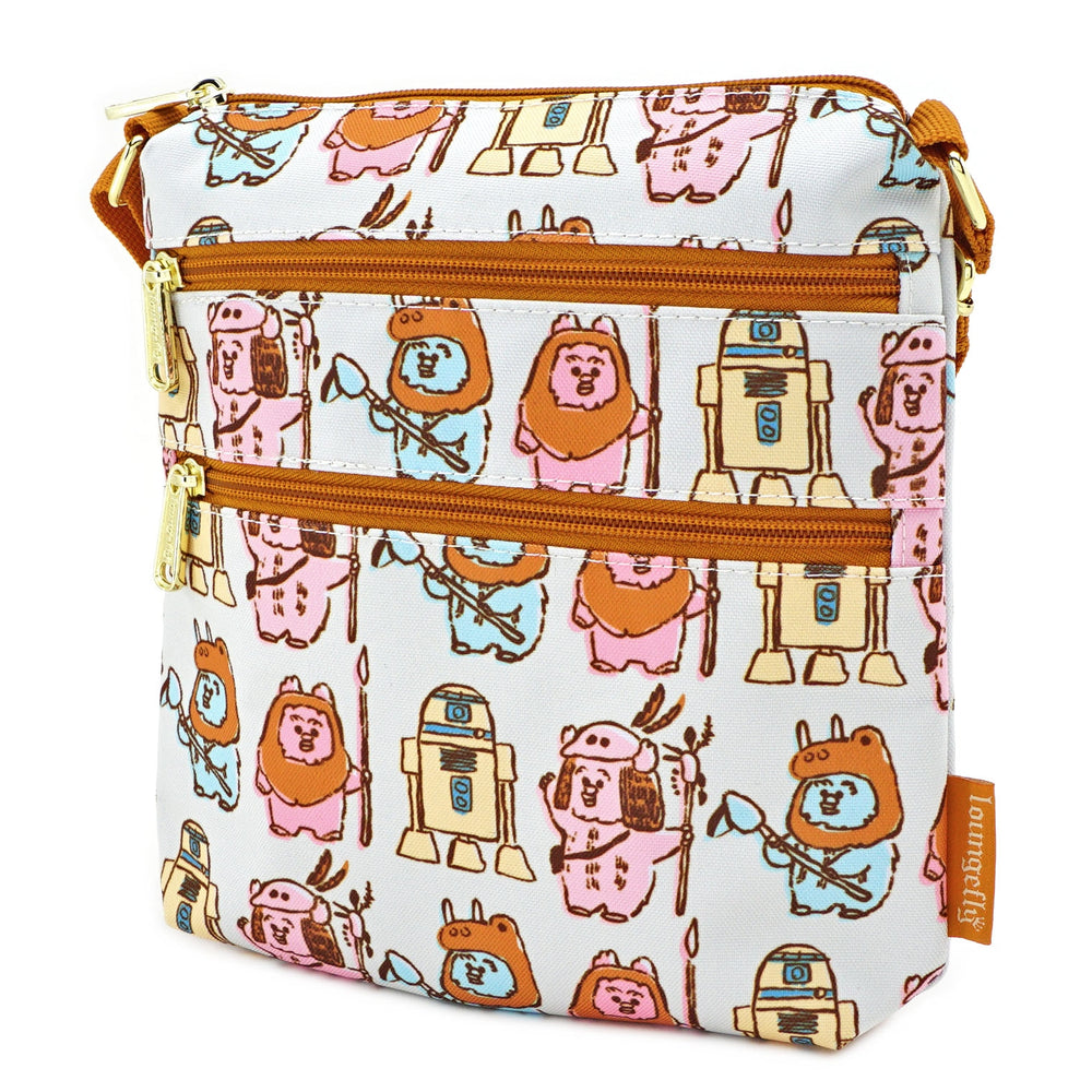 LOUNGEFLY X STAR WARS PASTEL YUB NUB EWOK AOP NYLON PASSPORT BAG-zoom