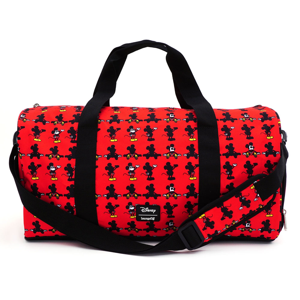 LOUNGEFLY X DISNEY MICKEY MOUSE PARTS AOP NYLON DUFFLE BAG-zoom