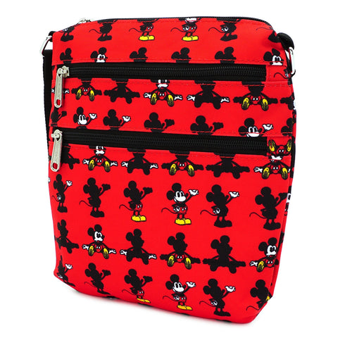 LOUNGEFLY X DISNEY MICKEY MOUSE PARTS AOP NYLON PASSPORT BAG