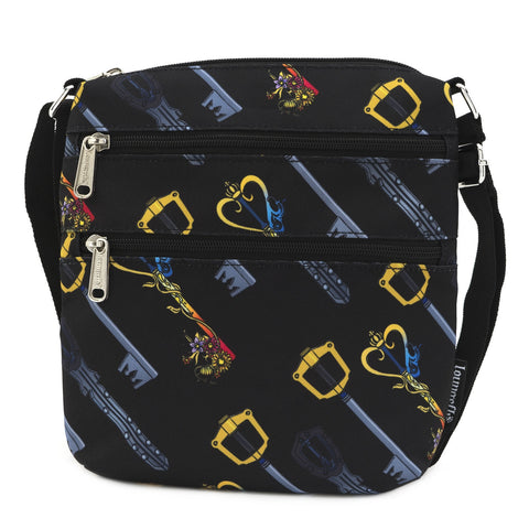 LOUNGEFLY X DISNEY KINGDOM HEARTS AOP KEYS NYLON PASSPORT BAG