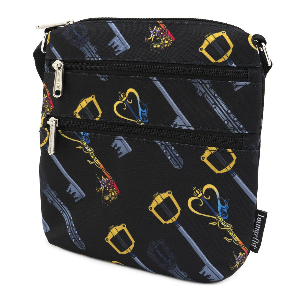 LOUNGEFLY X DISNEY KINGDOM HEARTS AOP KEYS NYLON PASSPORT BAG-zoom