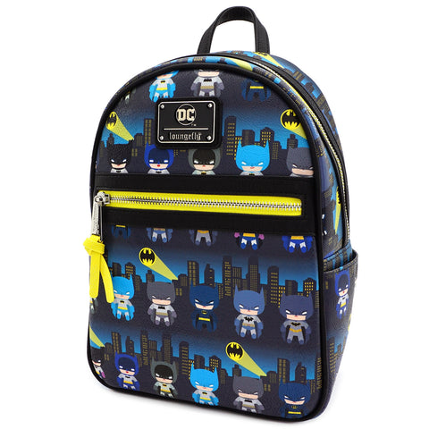 LOUNGEFLY X DC COMICS BATMAN 80TH ANNIVERSARY AOP CHIBI MINI BACKPACK