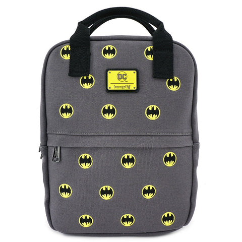 LOUNGEFLY X DC COMICS BATMAN 80TH ANNIVERSARY AOP CANVAS SQUARE BACKPACK