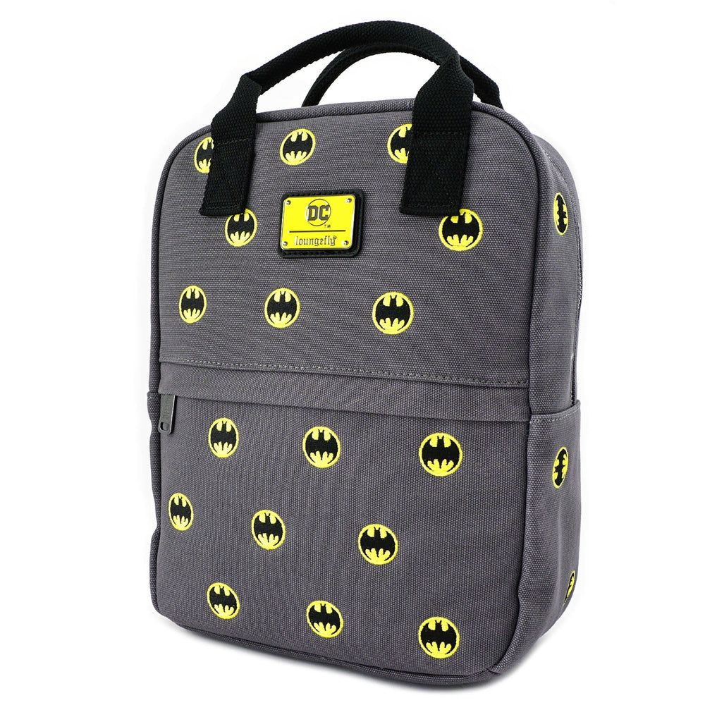 LOUNGEFLY X DC COMICS BATMAN 80TH ANNIVERSARY AOP CANVAS SQUARE BACKPACK-zoom