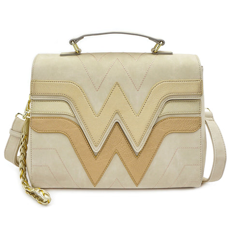 LOUNGEFLY X DC COMICS WONDER WOMAN QUILTED DIE CUT FLAP CROSS BODY BAG