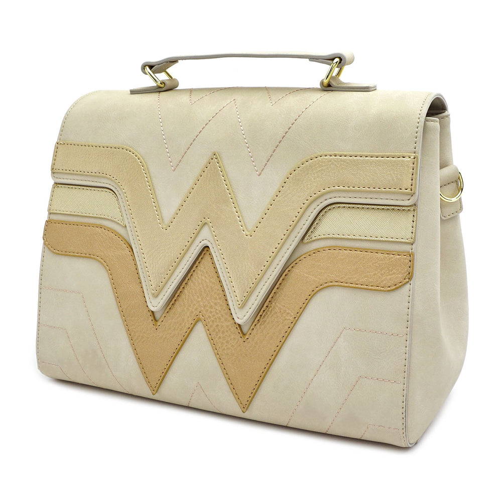 LOUNGEFLY X DC COMICS WONDER WOMAN QUILTED DIE CUT FLAP CROSS BODY BAG-zoom