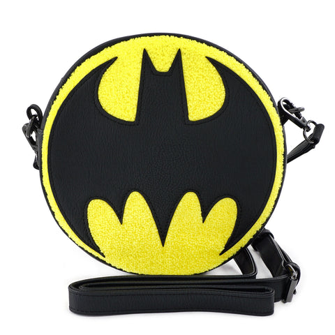LOUNGEFLY X DC COMICS BATMAN 80TH ANNIVERSARY CHENILLE CANTEEN BAG