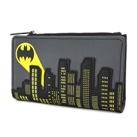 LOUNGEFLY X DC COMICS BATMAN 80TH ANNIVERSARY CITY SIGNAL FLAP WALLET