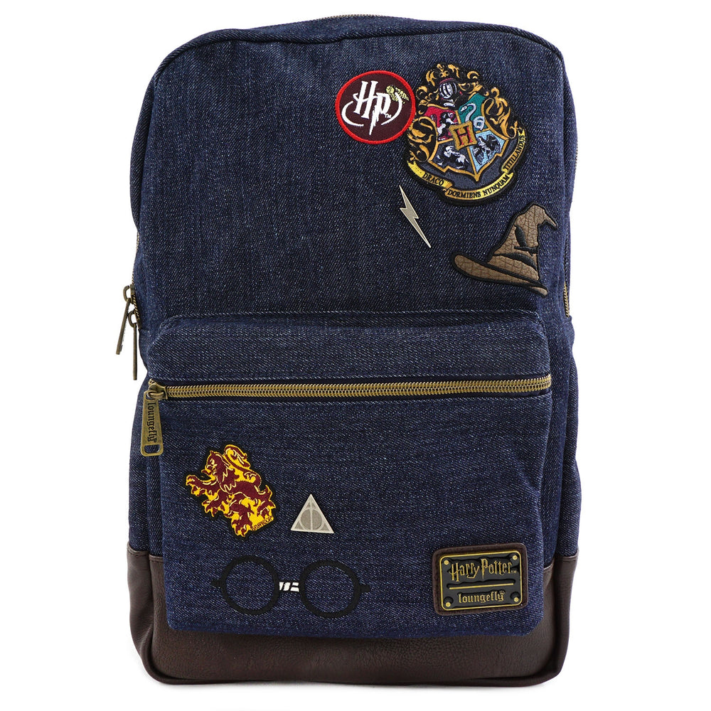 Loungefly x Harry Potter Hogwarts Denim Backpack-zoom