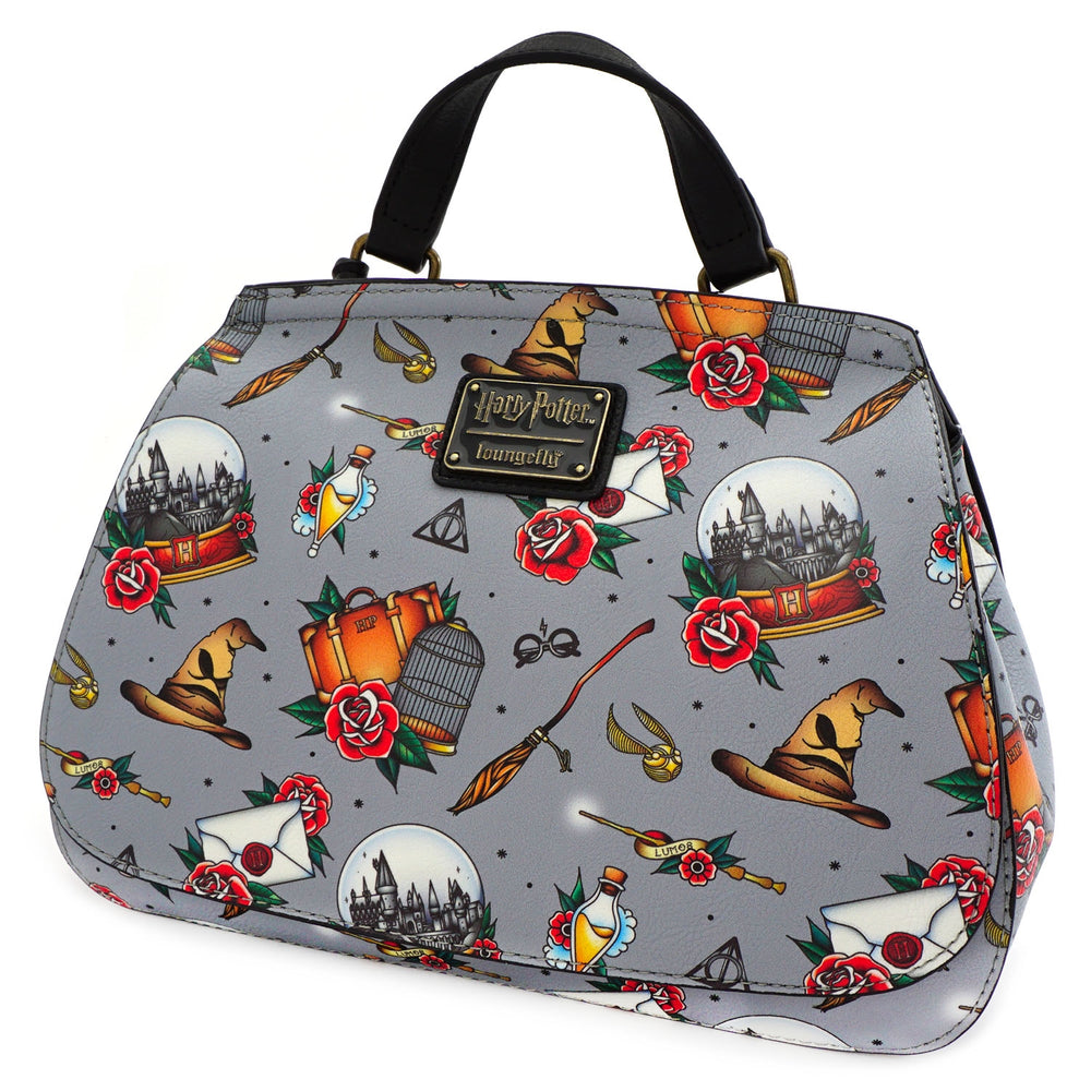 Loungefly x Harry Potter Relics Tattoo Print Crossbody Bag-zoom