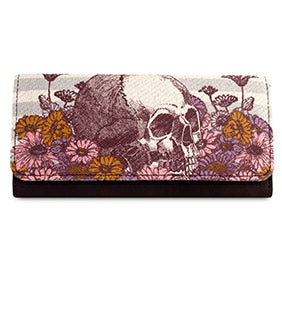 Loungefly Skull With Flowers Wallet-zoom