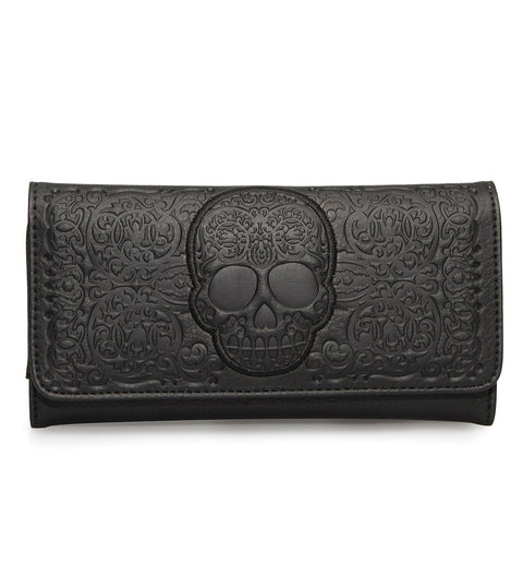 Loungefly Black-On-Black Lattice Skull Wallet - Front