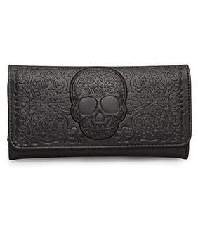 Loungefly Black-On-Black Lattice Skull Wallet-zoom