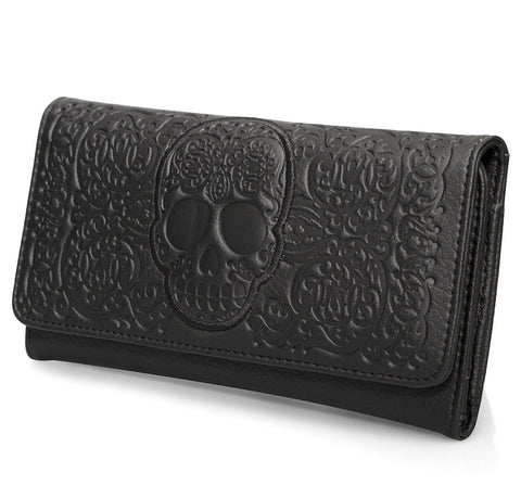 Loungefly Black-On-Black Lattice Skull Wallet