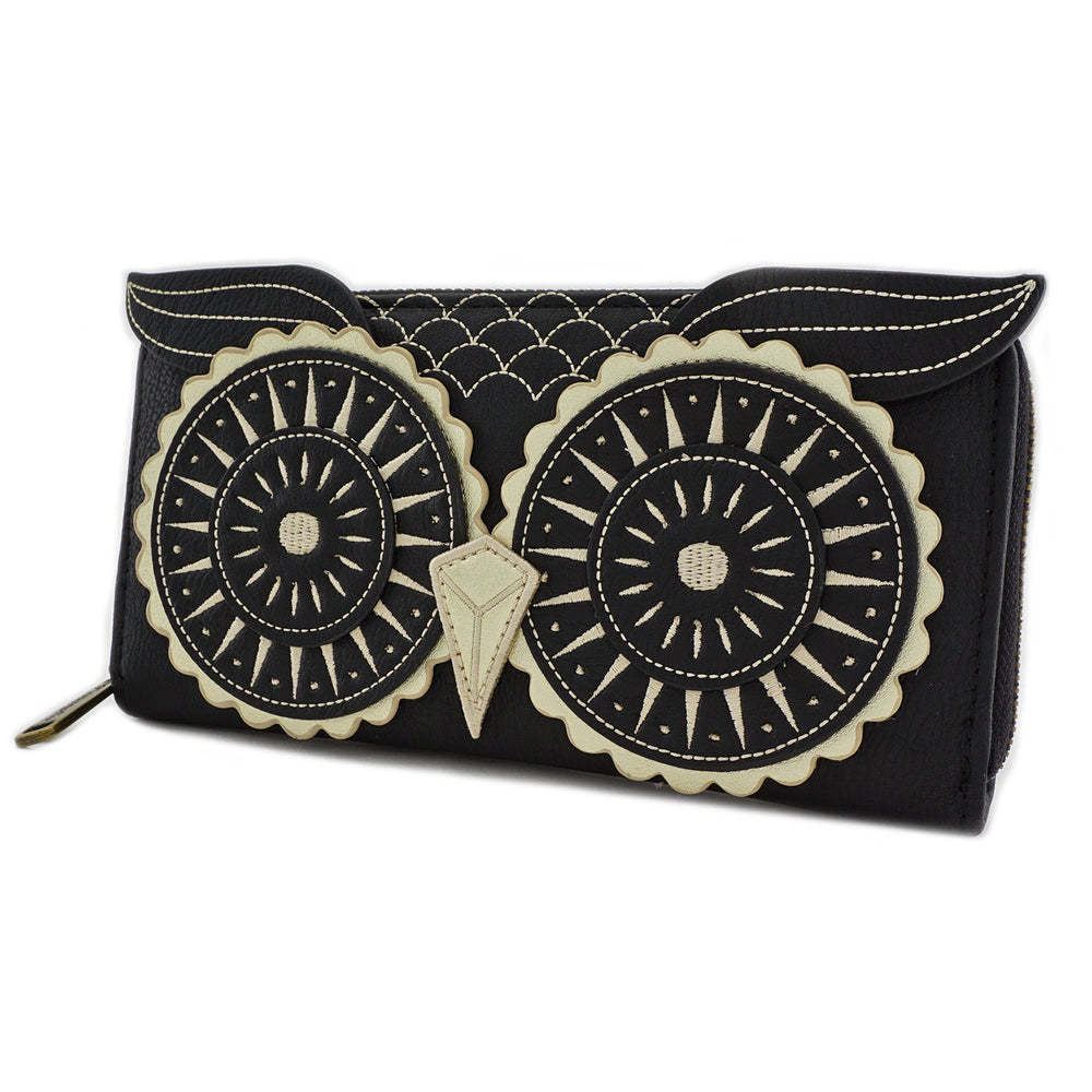 Loungefly Black/Gold Owl Wallet-zoom