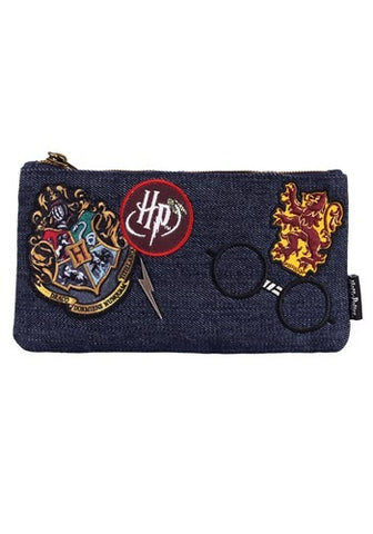 Loungefly X Harry Potter Denim Embroidered Patch Pouch