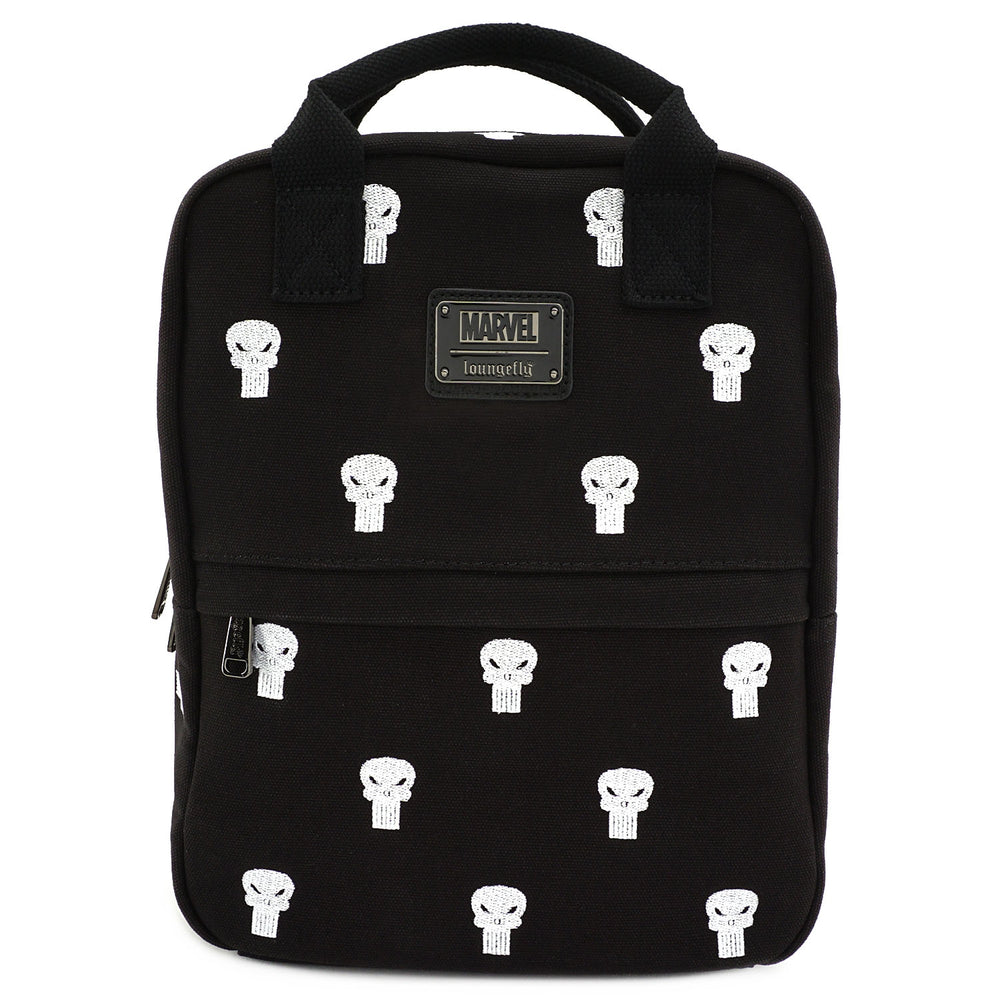 LOUNGEFLY X MARVEL PUNISHER EMBROIDERED CANVAS SQUARE BACKPACK-zoom