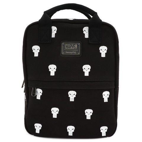 LOUNGEFLY X MARVEL PUNISHER EMBROIDERED CANVAS SQUARE BACKPACK
