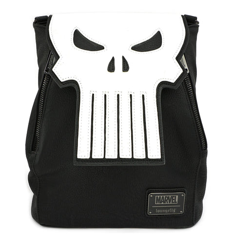 LOUNGEFLY X MARVEL PUNISHER SKULL CONVERTIBLE MINI BACKPACK