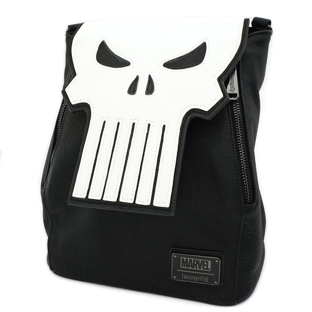 LOUNGEFLY X MARVEL PUNISHER SKULL CONVERTIBLE MINI BACKPACK-zoom