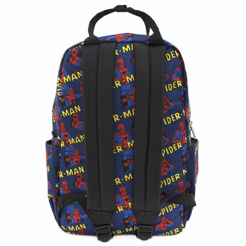 LOUNGEFLY X MARVEL SPIDERMAN CLASSIC AOP SQUARE NYLON BACKPACK