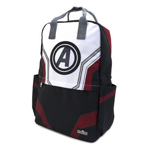LOUNGEFLY X MARVEL AVENGERS END GAME SUIT SQUARE NYLON BACKPACK