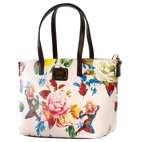 Loungefly x Captain Marvel Floral Print Tote Bag