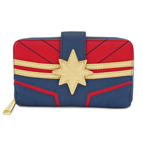 LOUNGEFLY X MARVEL CAPTAIN MARVEL COSPLAY ZIP AROUND WALLET