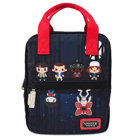 LOUNGEFLY X STRANGER THINGS POLY NYLON SQUARE CHIBI BACKPACK