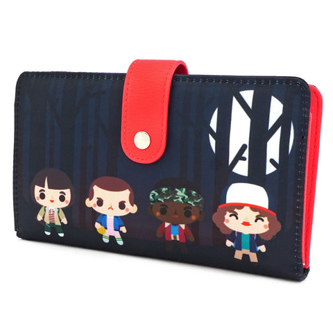 LOUNGEFLY X STRANGER THINGS NYLON CHIBI FLAP WALLET