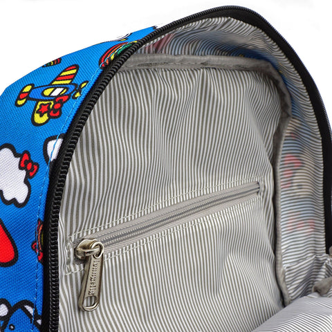 LOUNGEFLY X HELLO KITTY 45TH ANNIVERSARY AOP PRINTED NYLON SQUARE MINI BACKPACK