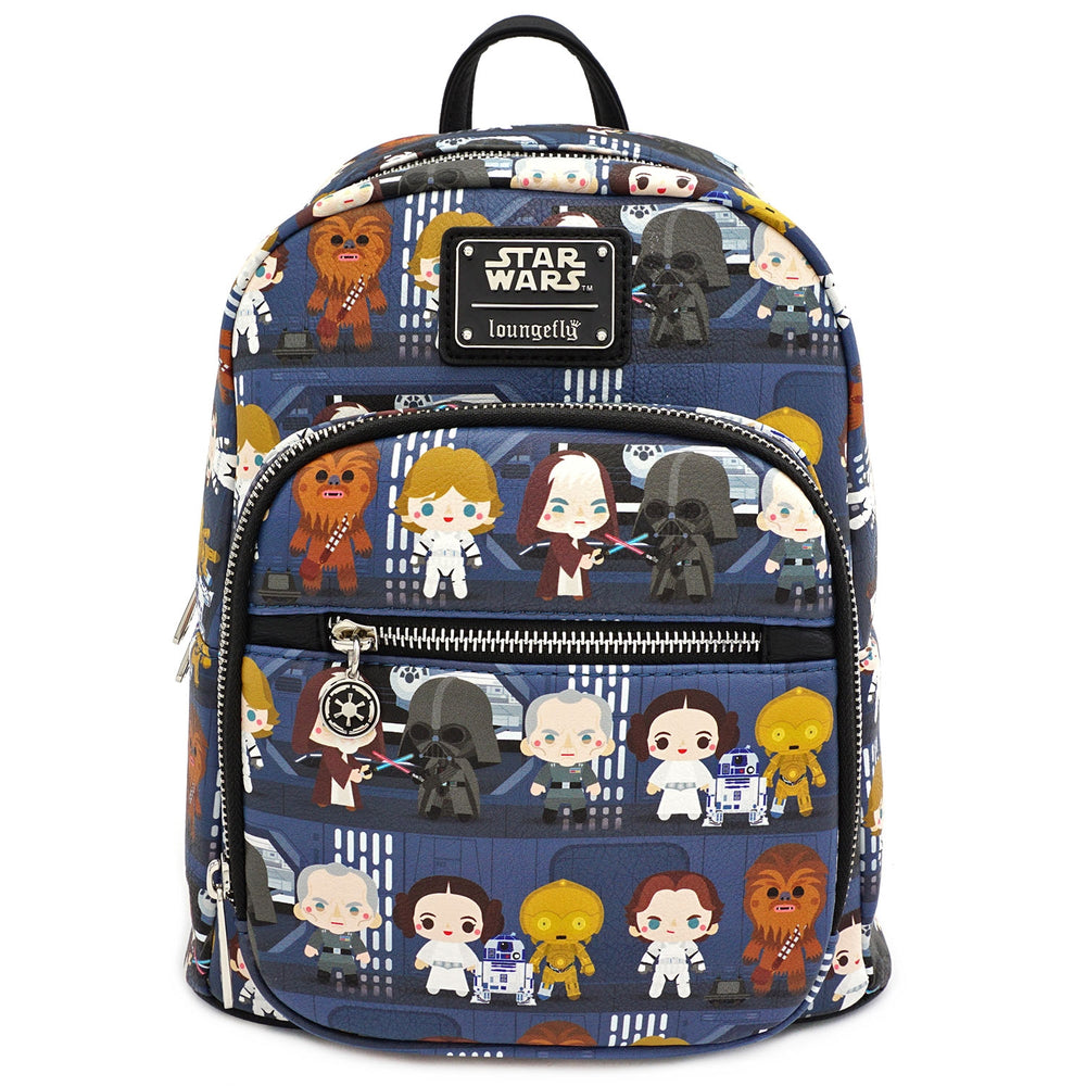 LOUNGEFLY X STAR WARS CHIBI BATTLE STATION LINE UP MINI PU BACKPACK-zoom