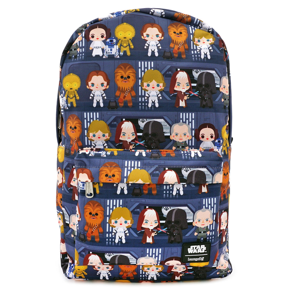 LOUNGEFLY X STAR WARS CHIBI BATTLE STATION LINE UP NYLON BACKPACK-zoom