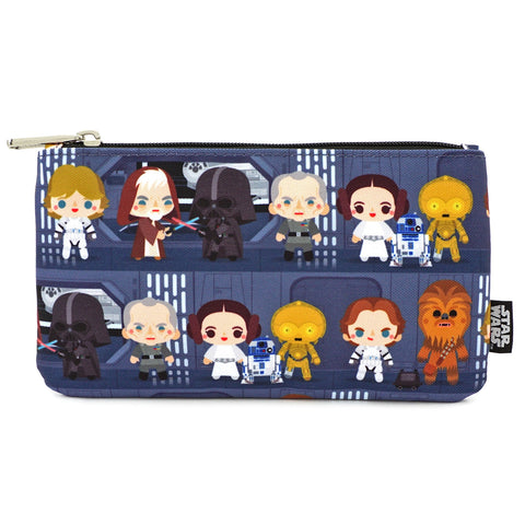 LOUNGEFLY X STAR WARS CHIBI BATTLE STATION LINE UP NYLON POUCH