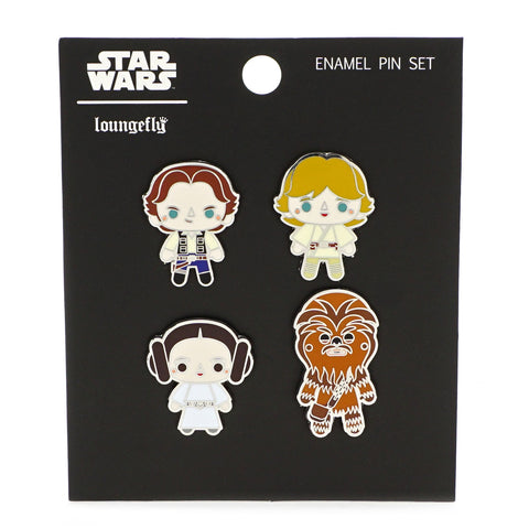 LOUNGEFLY X STAR WARS CHIBI 4 PACK ENAMEL PIN SET
