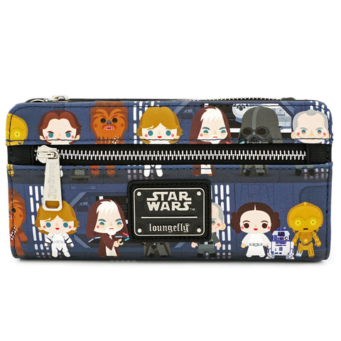 LOUNGEFLY X STAR WARS CHIBI BATTLE STATION LINE UP FLAP WALLET