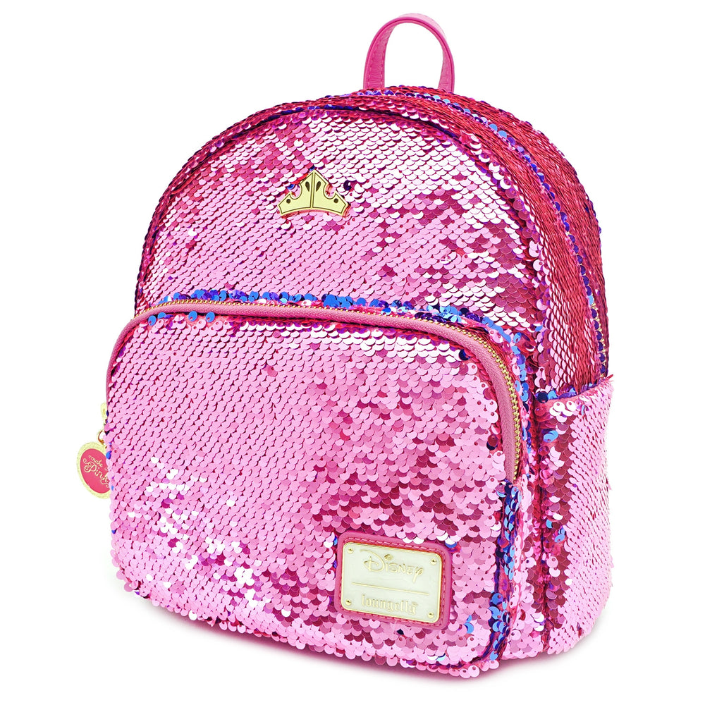 LOUNGEFLY X DISNEY PRINCESS SLEEPING BEAUTY REVERSIBLE SEQUIN MINI BACKPACK-zoom
