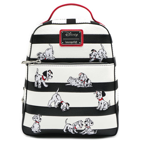 LOUNGEFLY X DISNEY 101 DALMATIANS BLACK AND WHITE STRIPE EMBROIDERED PUPPIES MINI BACKPACK