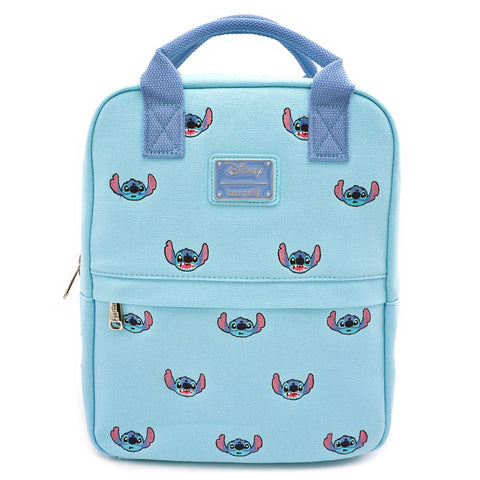 LOUNGEFLY X DISNEY LILO AND STITCH STITCH EMBROIDERED CANVAS SQUARE MINI BACKPACK