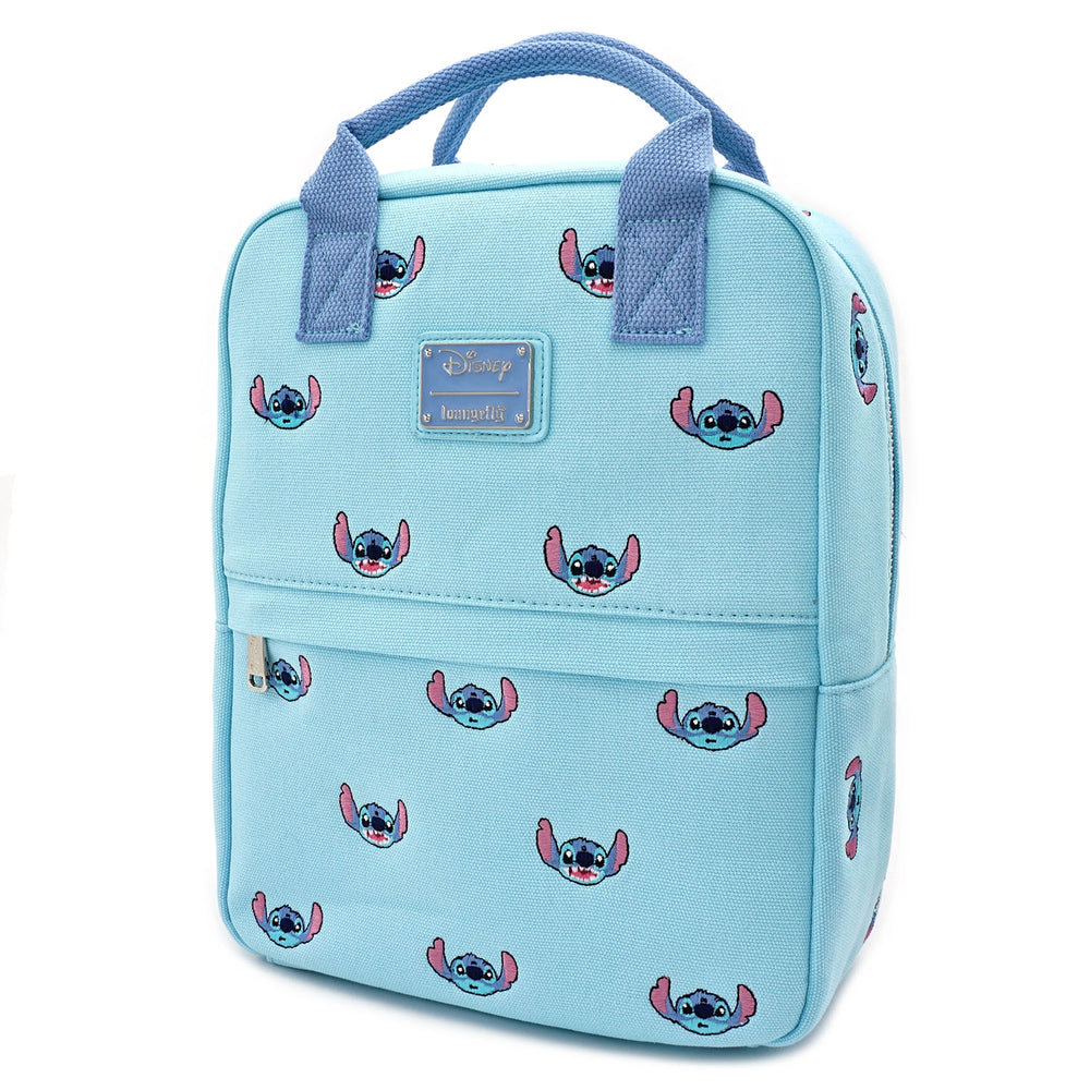 LOUNGEFLY X DISNEY LILO AND STITCH STITCH EMBROIDERED CANVAS SQUARE MINI BACKPACK-zoom